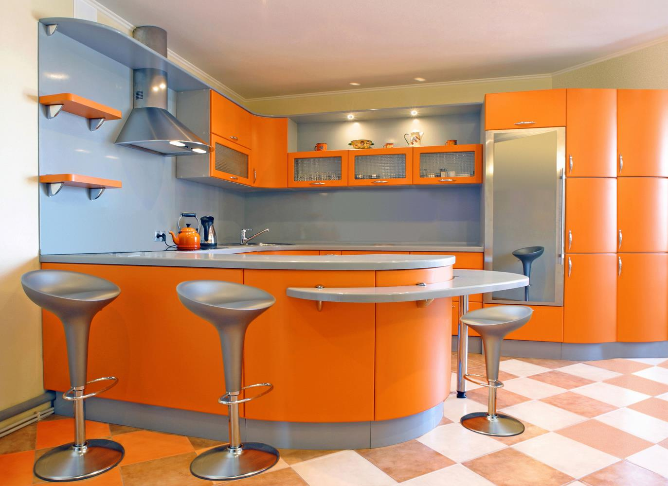 Orange Gloss Modern Kitchen