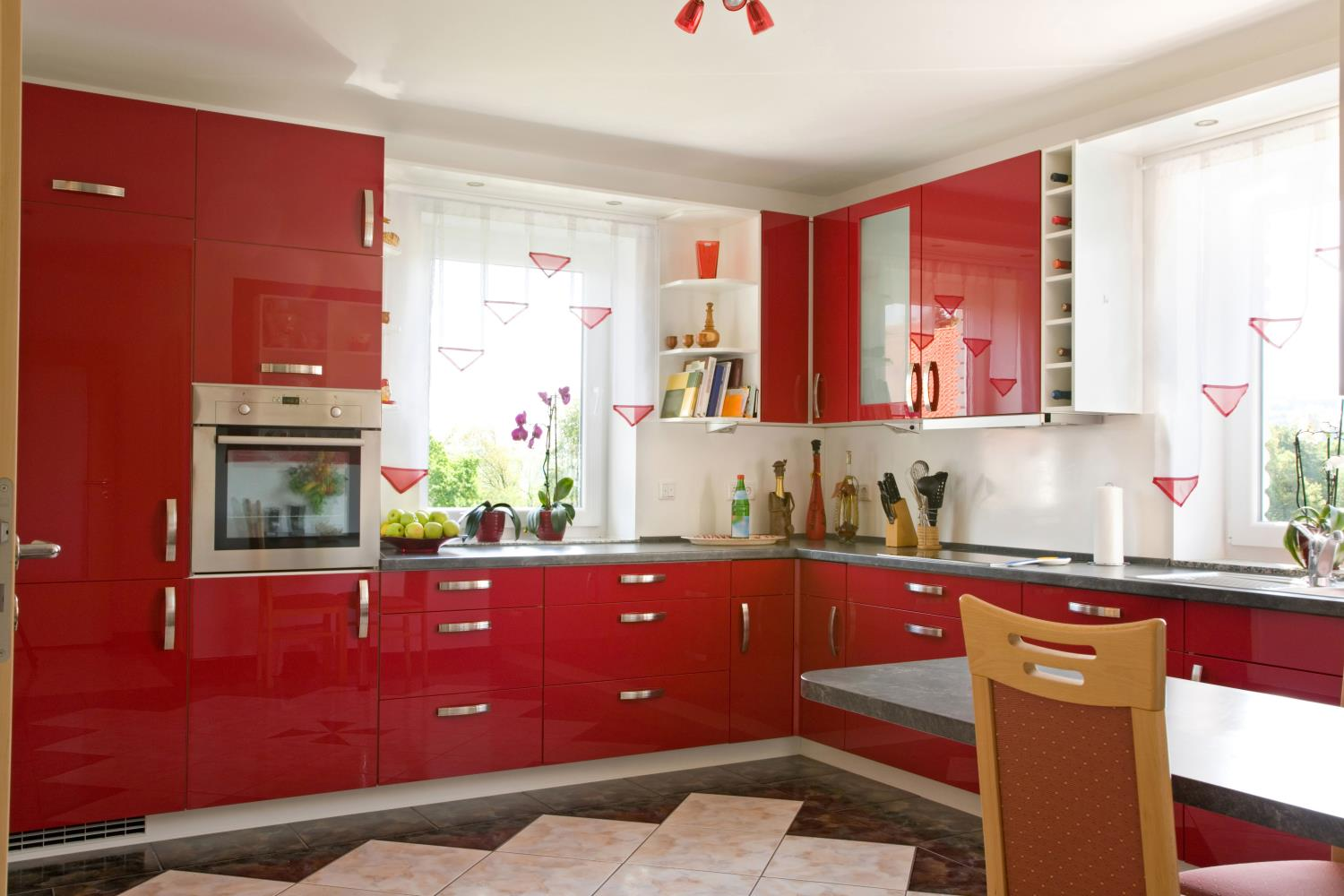 High Gloss Red Modern Kitchen